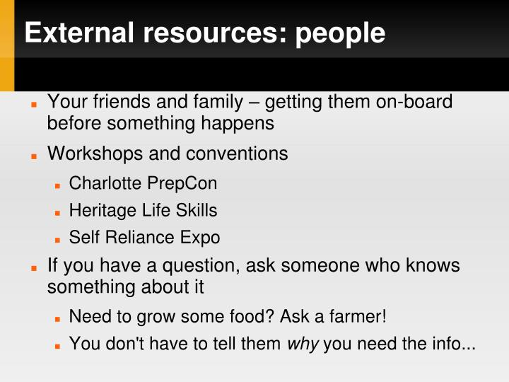 External resources: people