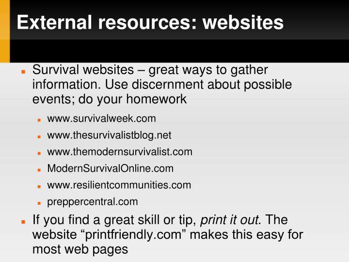 External resources: websites