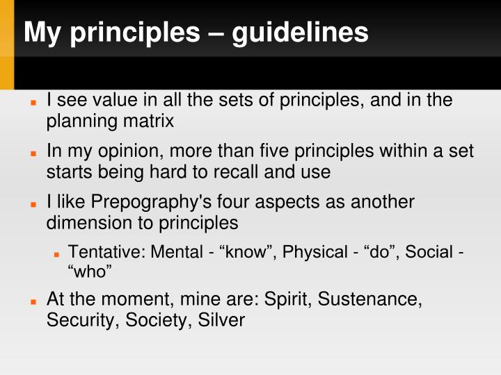 My principles – guidelines