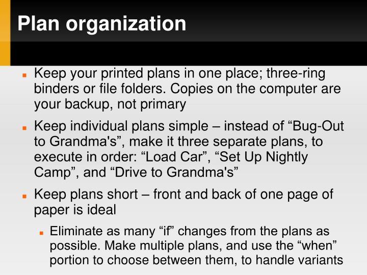 Plan organization