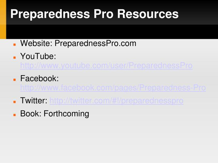 Preparedness Pro Resources