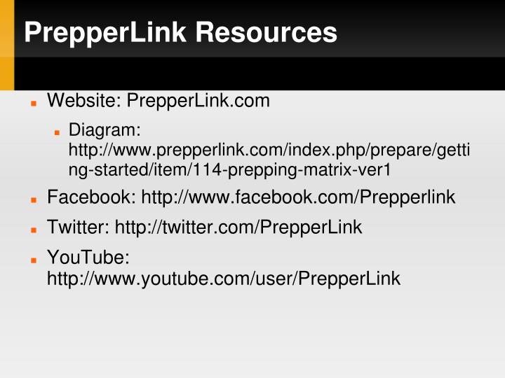 PrepperLink Resources