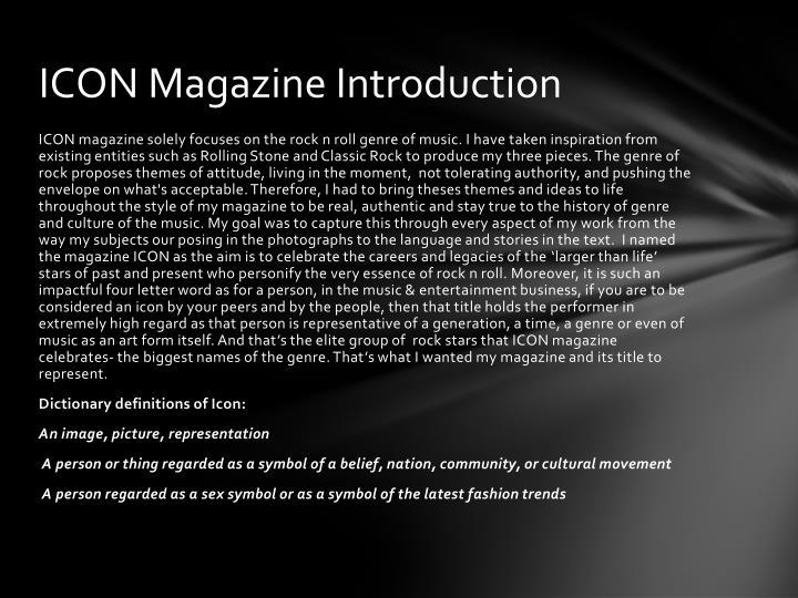 ICON Magazine Introduction
