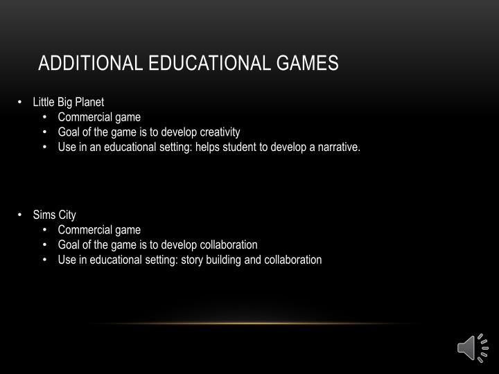 Additional educational games