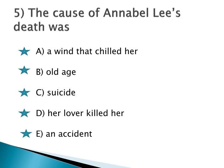 5) The cause of Annabel Lee's death was