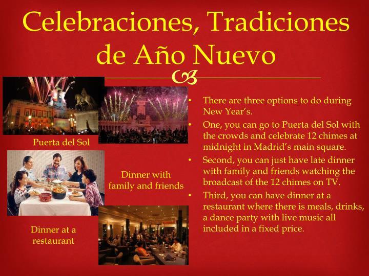 Celebraciones, Tradiciones de Año Nuevo