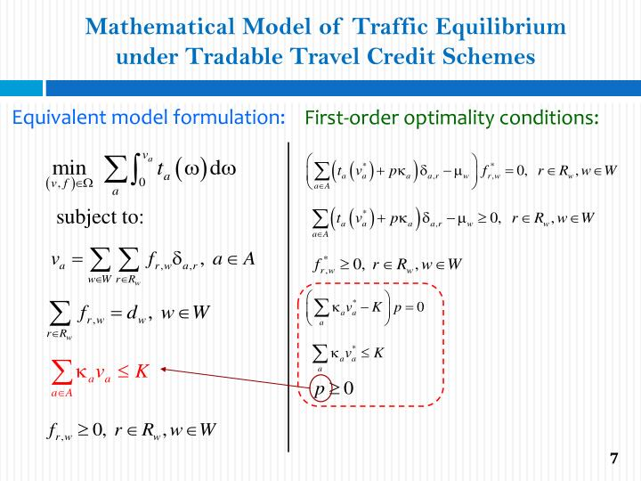 Mathematical Model of Traffic Equilibrium under Tradable Travel Credit Schemes