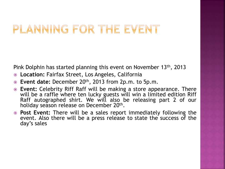 Planning for the event