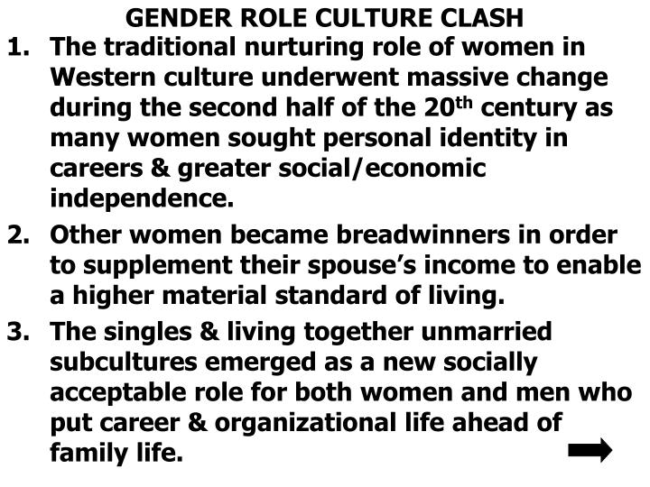 GENDER ROLE CULTURE CLASH