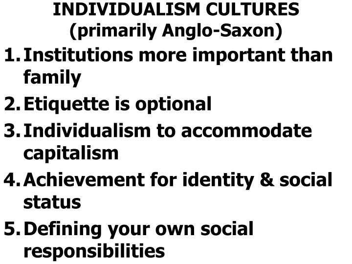 INDIVIDUALISM CULTURES (primarily Anglo-Saxon)