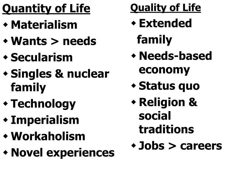 Quantity of Life
