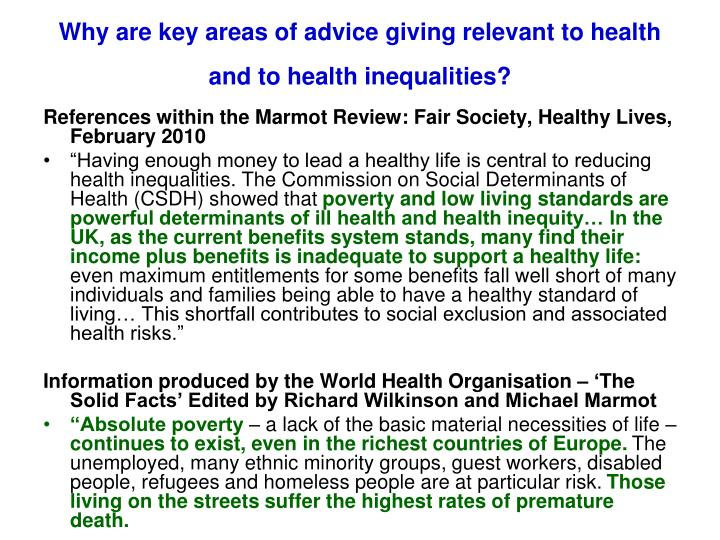 Why are key areas of advice giving relevant to health and to health inequalities