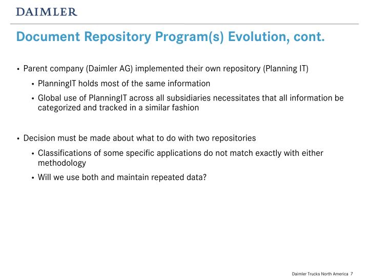 Document Repository Program(s) Evolution, cont.