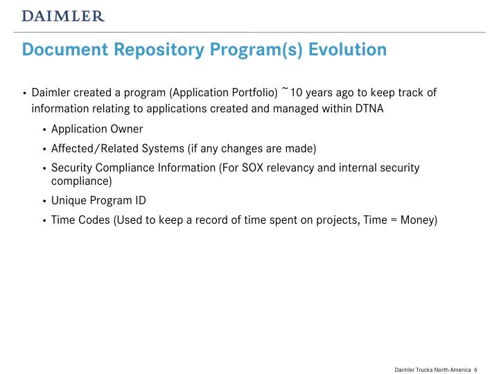 Document Repository Program(s) Evolution