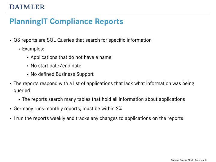 PlanningIT Compliance Reports