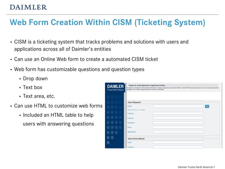 Web Form Creation Within CISM (Ticketing System)