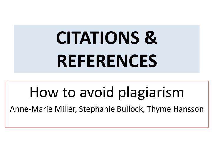 Citations references