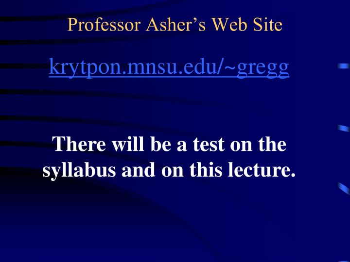 Professor Asher's Web Site
