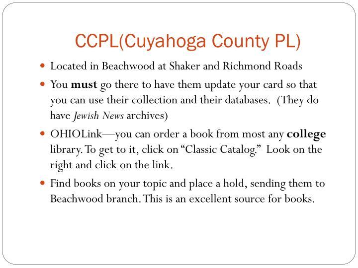 CCPL(Cuyahoga County PL)