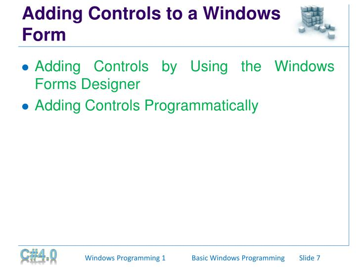 Adding Controls to a Windows Form