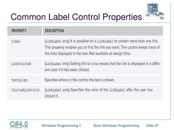 Common Label Control Properties