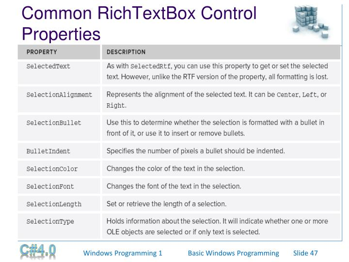 Common RichTextBox Control Properties