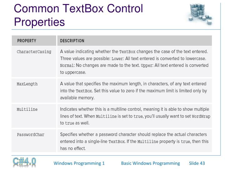 Common TextBox Control Properties