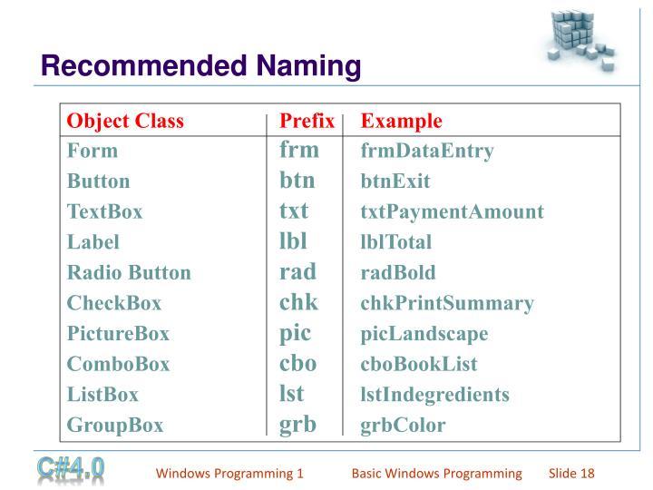 Object ClassPrefixExample