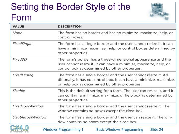Setting the Border Style of the Form