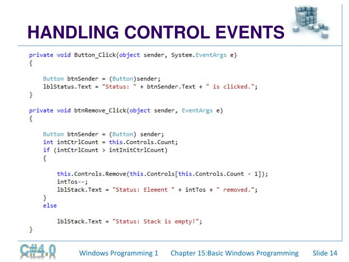 HANDLING CONTROL EVENTS