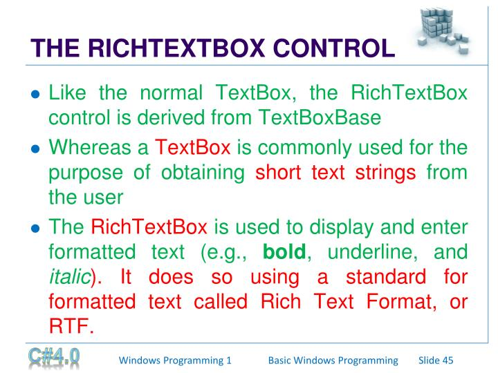 THE RICHTEXTBOX CONTROL