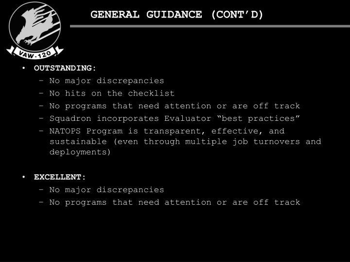 GENERAL GUIDANCE (CONT'D)
