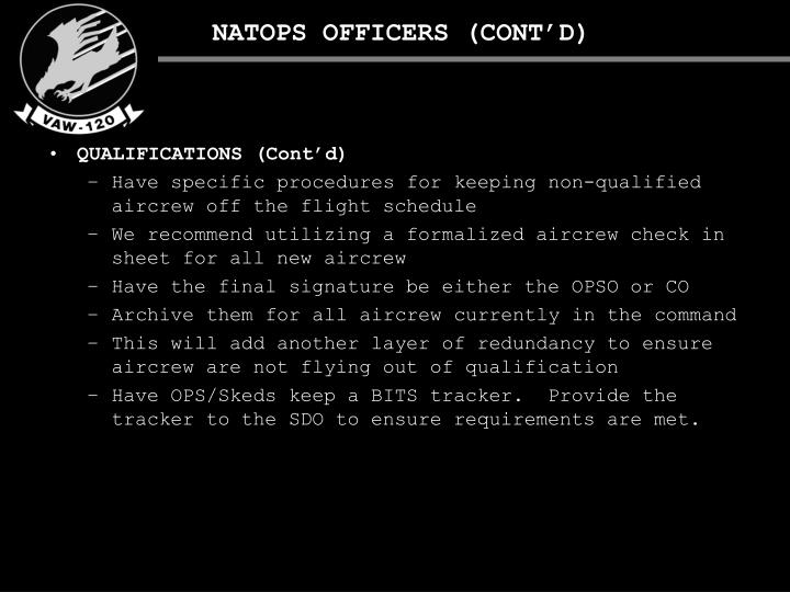 NATOPS OFFICERS (CONT'D)