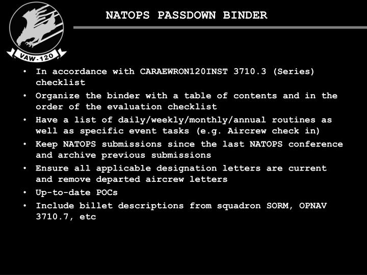 NATOPS PASSDOWN BINDER