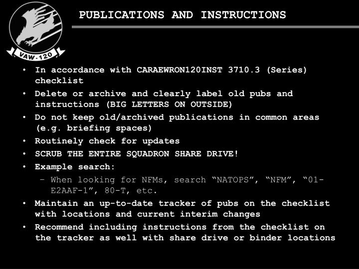 PUBLICATIONS AND INSTRUCTIONS