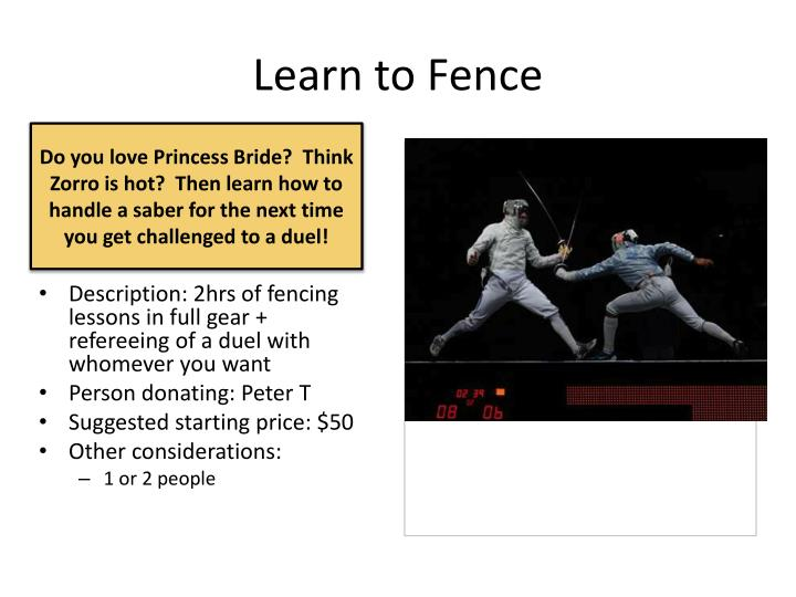 Learn to Fence