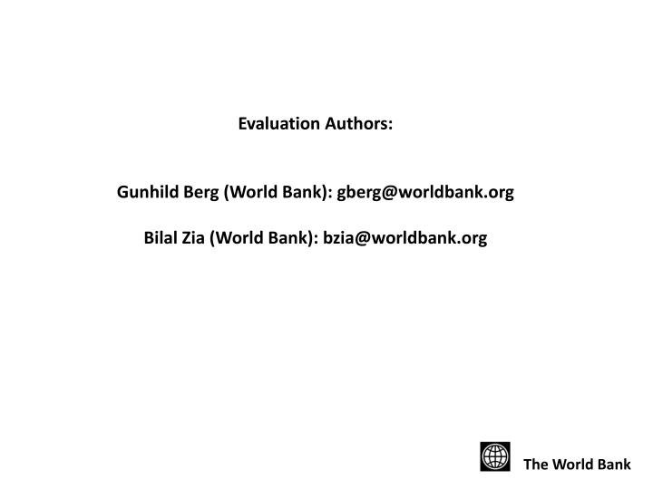 Evaluation Authors: