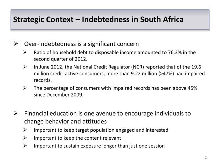 Strategic Context – Indebtedness in South Africa