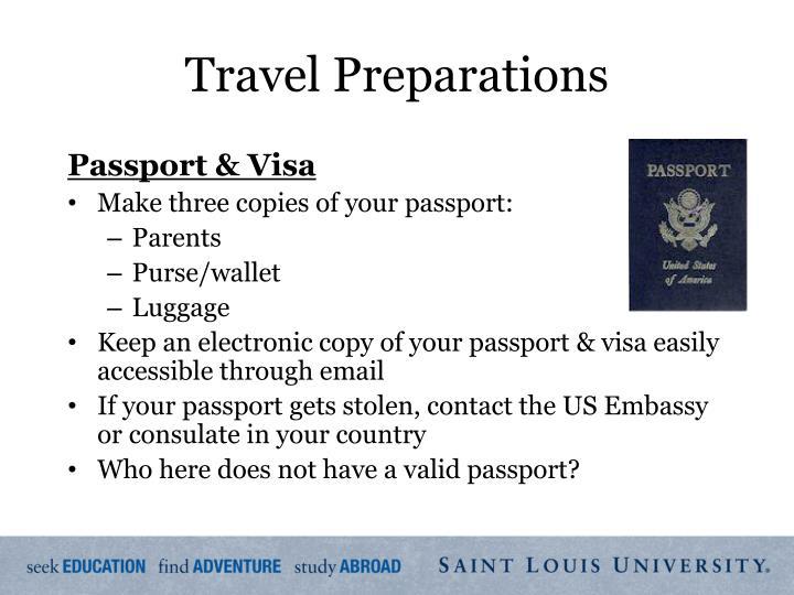 Travel Preparations