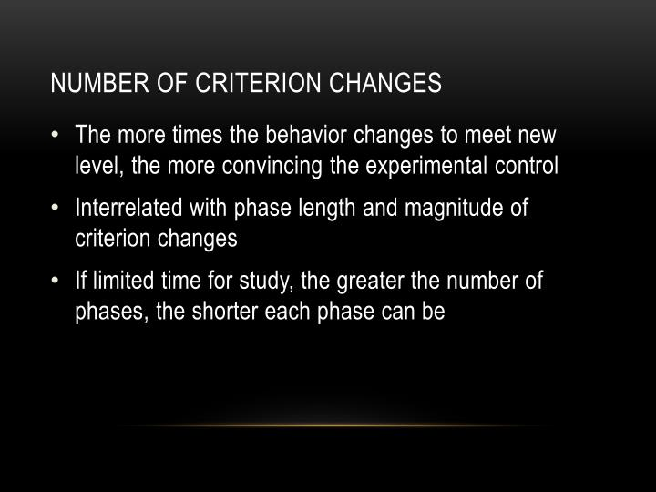 Number of Criterion Changes
