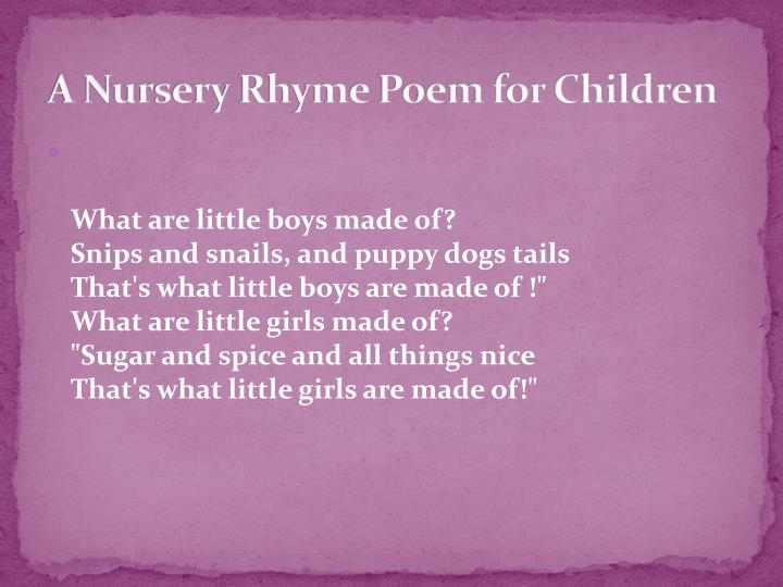 A Nursery Rhyme Poem for Children