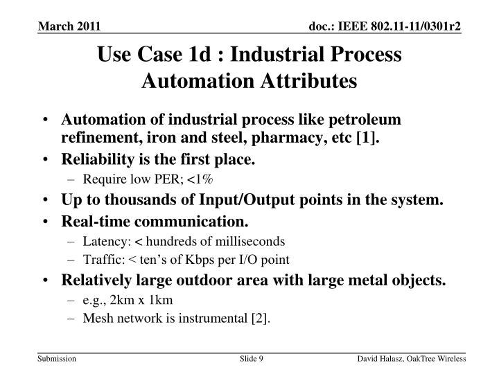 Use Case 1d : Industrial