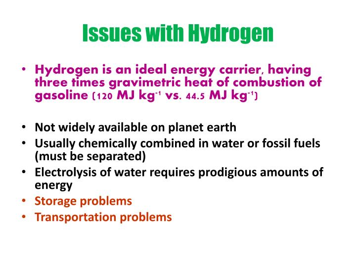 Issues with Hydrogen