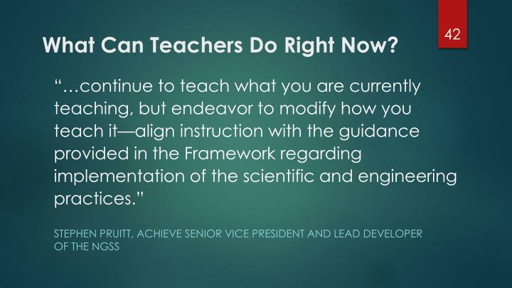 What Can Teachers Do Right Now?