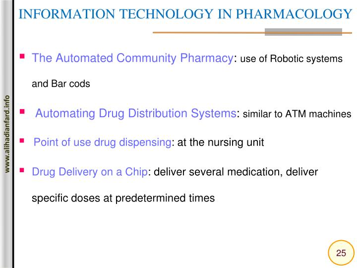 INFORMATION TECHNOLOGY IN PHARMACOLOGY