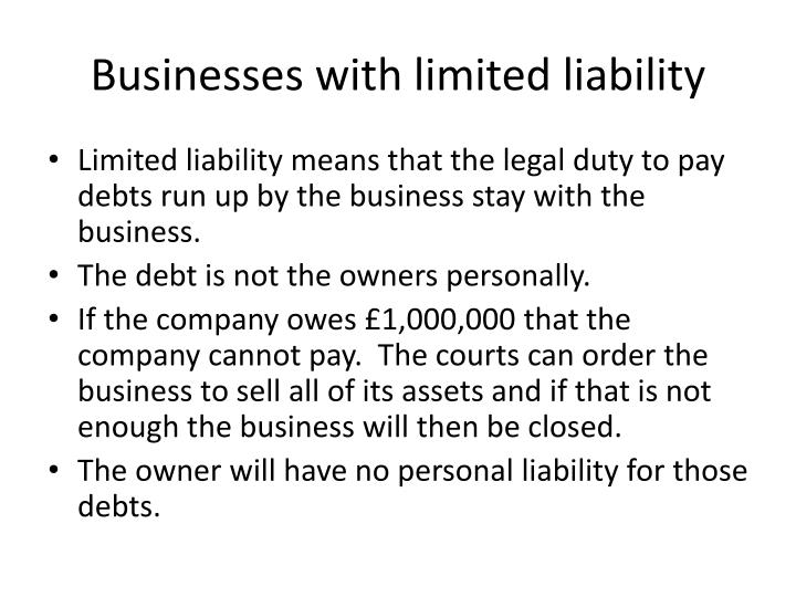 Businesses with limited liability
