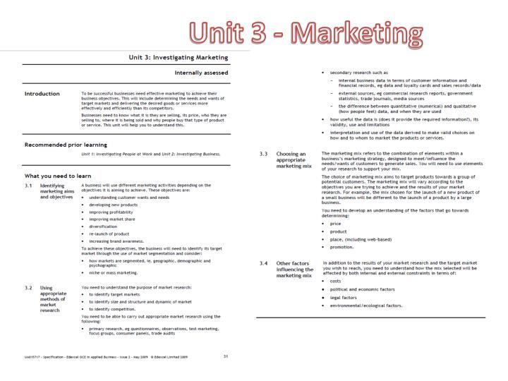 Unit 3 - Marketing