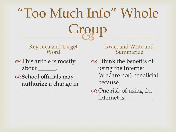 """Too Much Info"" Whole Group"