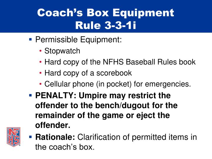Coach's Box Equipment