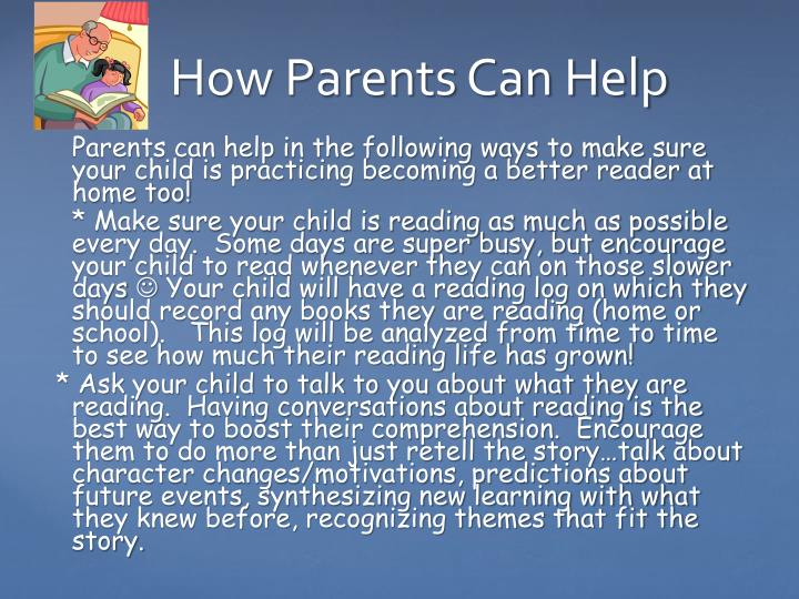 Parents can help in the following ways to make sure your child is practicing becoming a better reader at home too!